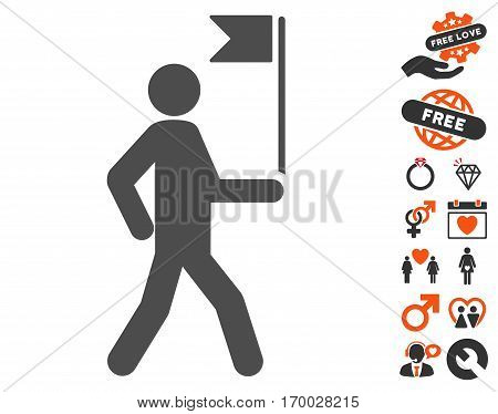Guide Man With Flag pictograph with bonus valentine design elements. Vector illustration style is flat iconic elements for web design app user interfaces.