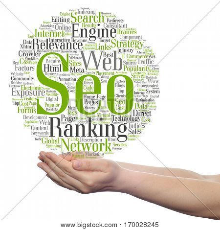 Concept or conceptual search engine optimization, seo abstract word cloud in hand isolated on background, metaphor to marketing, web, internet, strategy, online, rank, result,  network, top, relevance