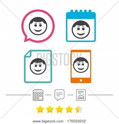 Smile face sign icon. Happy smiley with hairstyle chat symbol. Calendar, chat speech bubble and report linear icons. Star vote ranking. Vector