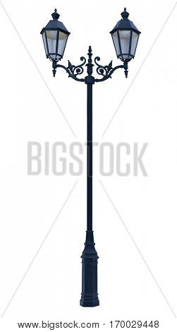 lamp post. Decorative street  lamp-post. isolated on white background.