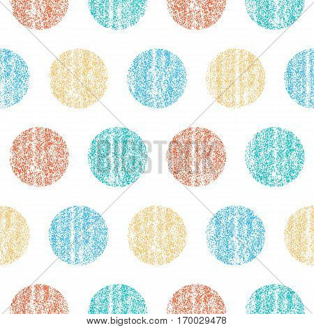 -Seamless pattern with color polka dots. Circle shape with old painted texture. Retro vintage wallpaper. Vector illustration a graphic element.