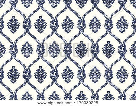 Rope seamless tied fishnet damask pattern. Wallpaper