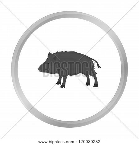 Boar icon in monochrome style isolated on white background. Hunting symbol vector illustration.