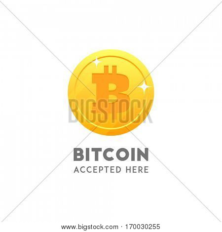 Bitcoin accepted here. Coin flat design