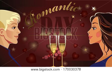 valentineâ??s day horizontal card, man and woman couple, lover pair, romantic day