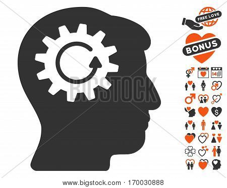 Head Gear Rotation pictograph with bonus love pictures. Vector illustration style is flat iconic symbols for web design app user interfaces.