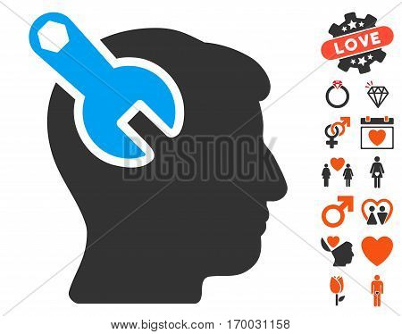 Head Neurology Wrench pictograph with bonus valentine symbols. Vector illustration style is flat iconic elements for web design app user interfaces.