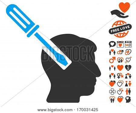 Head Screwdriver Tuning icon with bonus valentine design elements. Vector illustration style is flat iconic symbols for web design app user interfaces.