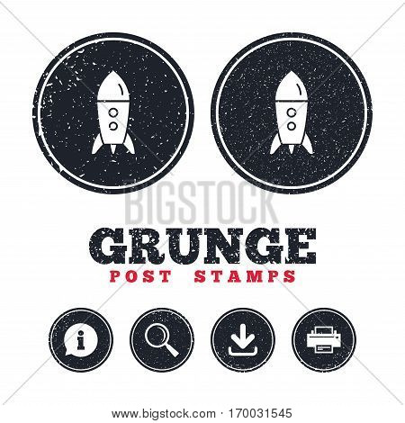 Grunge post stamps. Start up icon. Startup business rocket sign. Information, download and printer signs. Aged texture web buttons. Vector