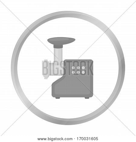 Electical meat grinder icon in monochrome style isolated on white background. Household appliance symbol vector illustration.