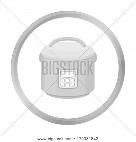 Multicooker icon in monochrome style isolated on white background. Household appliance symbol vector illustration.