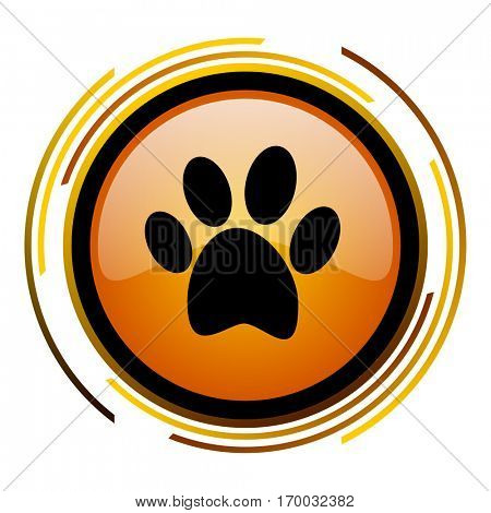 Animal foot print sign vector icon. Modern design round orange button isolated on white square background for web and application designers in eps10.