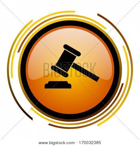 Auction - verdict sign vector icon. Modern design round orange button isolated on white square background for web and application designers in eps10.
