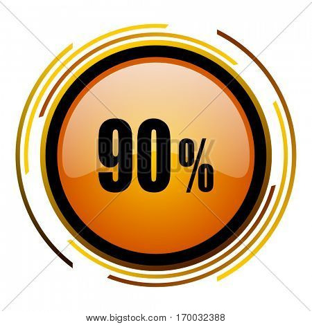 90 percent sale sign vector icon. Modern design round orange button isolated on white square background for web and application designers in eps10.