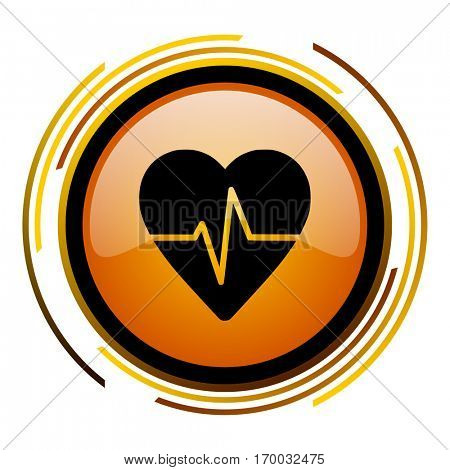 Heart rate pulse sign vector icon. Modern design round orange button isolated on white square background for web and application designers in eps10.