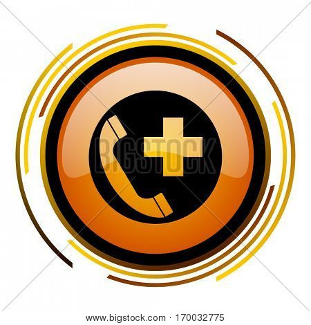 Emergency call sign vector icon. Modern design round orange button isolated on white square background for web and application designers in eps10.