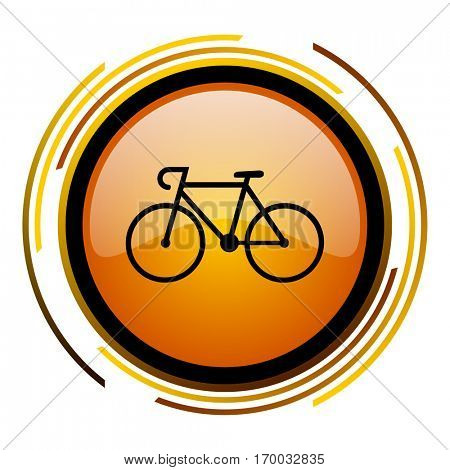 Bike sign vector icon. Modern design round orange button isolated on white square background for web and application designers in eps10.