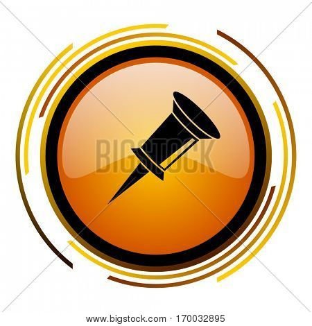 Pin sign vector icon. Modern design round orange button isolated on white square background for web and application designers in eps10.