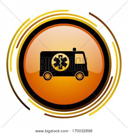 Ambulance emergency sign vector icon. Modern design round orange button isolated on white square background for web and application designers in eps10.