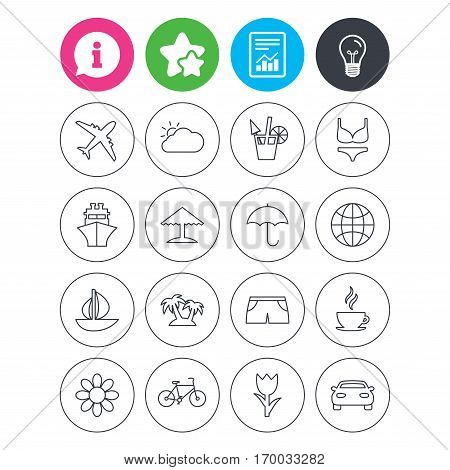 Information, light bulb and report signs. Travel icons. Ship, plane and car transport. Beach umbrella, palms and cocktail. Swimming trunks. Rose or tulip flower. Favorite star symbol. Flat buttons