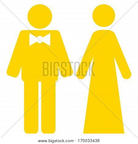 Just Married Persons vector icon symbol. Flat pictogram designed with yellow and isolated on a white background.