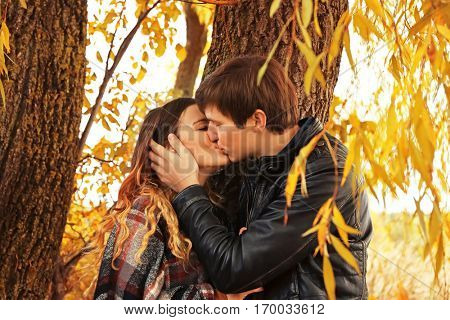 Beautiful young couple having date outdoors