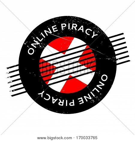 Online Piracy rubber stamp. Grunge design with dust scratches. Effects can be easily removed for a clean, crisp look. Color is easily changed.