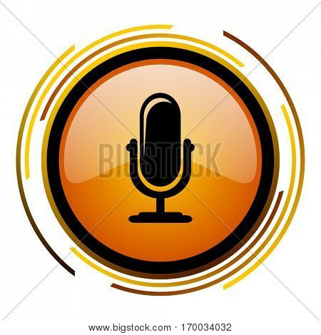 Microphone podcast sign vector icon. Modern design round orange button isolated on white square background for web and application designers in eps10.