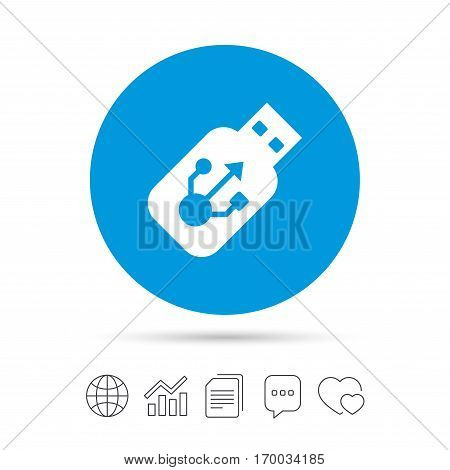 Usb sign icon. Usb flash drive stick symbol. Copy files, chat speech bubble and chart web icons. Vector