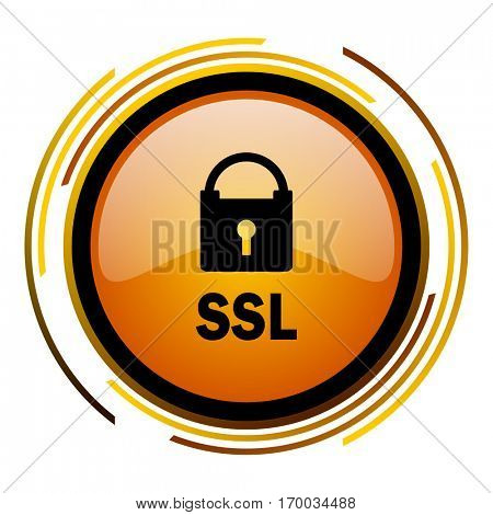 SSL sign vector icon. Modern design round orange button isolated on white square background for web and application designers in eps10.