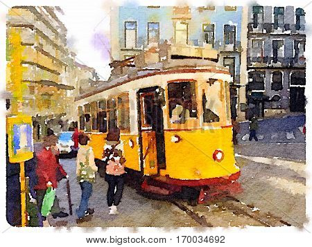 Digital watercolor painting of a traditional vintage yellow tram in Lisbon Portugal at a stop with passengers getting on the tram.