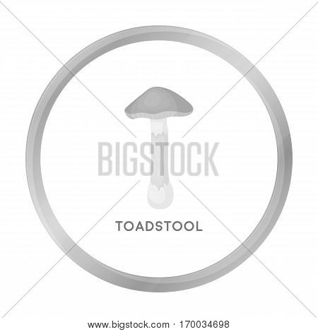 Toadstool icon in monochrome style isolated on white background. Mushroom symbol vector illustration.