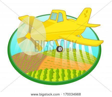 Cartoon crop duster is spraying fields. Eps10
