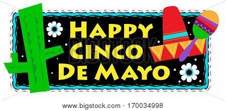 Colorful Happy Cinco De Mayo sign. Eps10