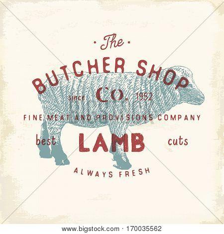 Butcher Shop Vintage Emblem Lamb Meat Products, Butchery Logo Template Retro Style. Vintage Design F