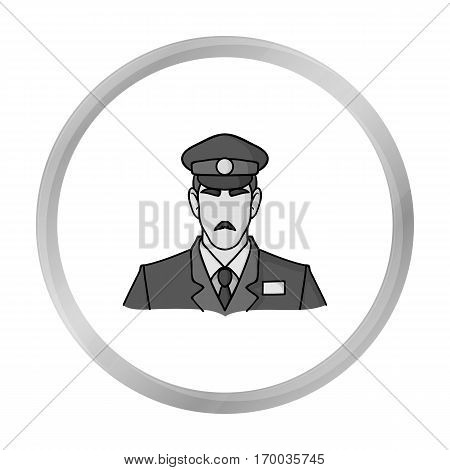 Museum security guard icon in monochrome style isolated on white background. Museum symbol vector illustration.