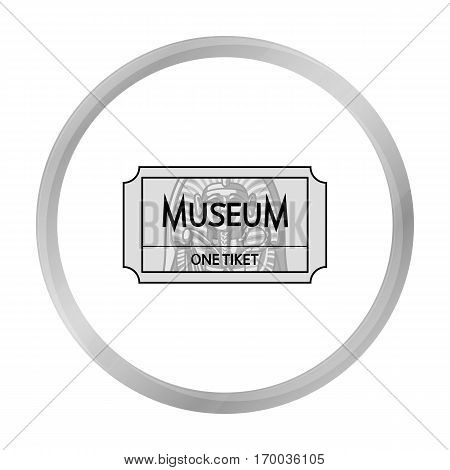Ticketto the museum icon in monochrome style isolated on white background. Museum symbol vector illustration.