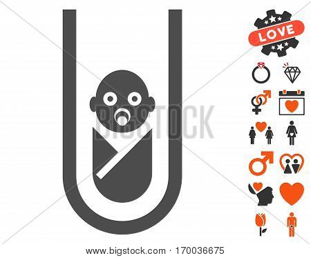 In Vitro Baby pictograph with bonus dating clip art. Vector illustration style is flat iconic symbols for web design app user interfaces.
