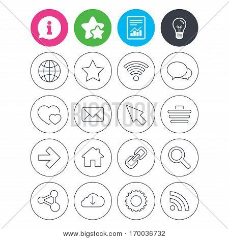 Information, light bulb and report signs. Internet and Web icons. Wi-fi network, favorite star and internet globe. Hearts, shopping cart and speech bubbles. Share, rss and link symbols. Vector