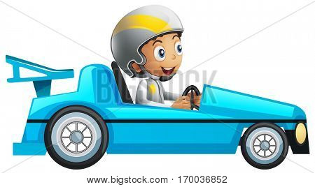 Racer in blue racing car illustration