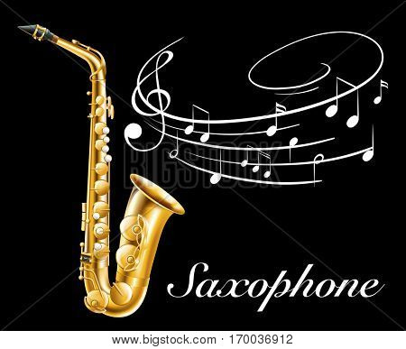 Poster design with saxophone and music notes illustration