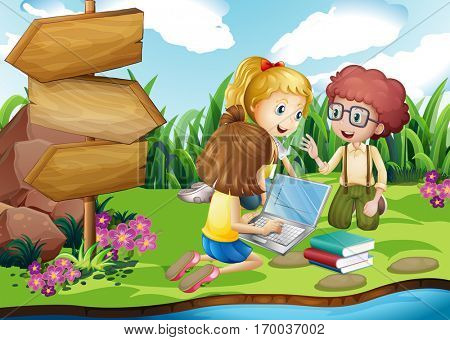 Kids working on computer in the park illustration