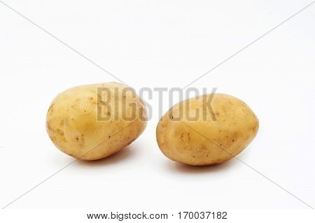 Quality of potatoes melt. Potatoes isolated on white background