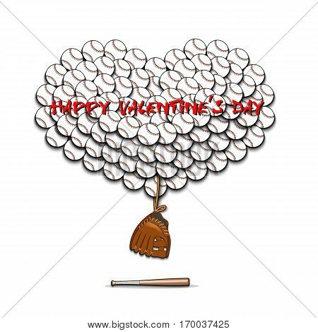Valentines Day And Heart From Baseball Balls