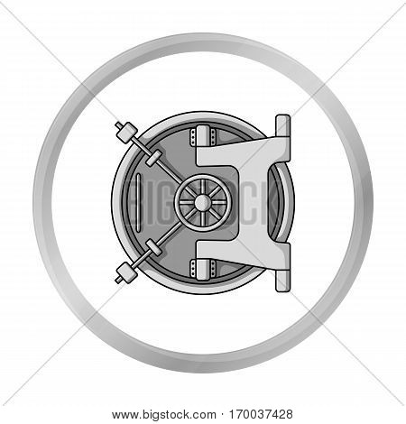 Bank vault icon in monochrome style isolated on white background. Money and finance symbol vector illustration.