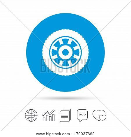Car wheel sign icon. Circular transport component symbol. Copy files, chat speech bubble and chart web icons. Vector