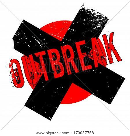 Outbreak rubber stamp. Grunge design with dust scratches. Effects can be easily removed for a clean, crisp look. Color is easily changed.