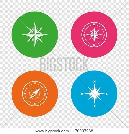 Windrose navigation icons. Compass symbols. Coordinate system sign. Round buttons on transparent background. Vector
