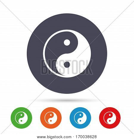 Ying yang sign icon. Harmony and balance symbol. Round colourful buttons with flat icons. Vector