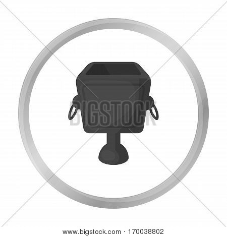 Garbage can icon in monochrome style isolated on white background. Park symbol vector illustration.